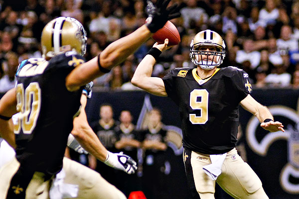 Brees became the first QB to ever have consecutive 5,000 yard passing seasons, but saw his interception and completion numbers take downward turns as well.